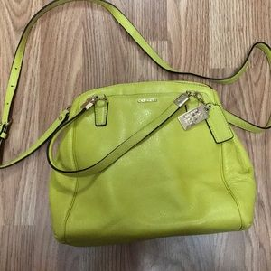 Lime green/yellow Coach purse